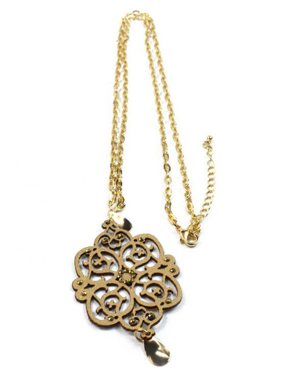 women's Hollow Out Floral Shape Pendant Necklace - GOLDEN