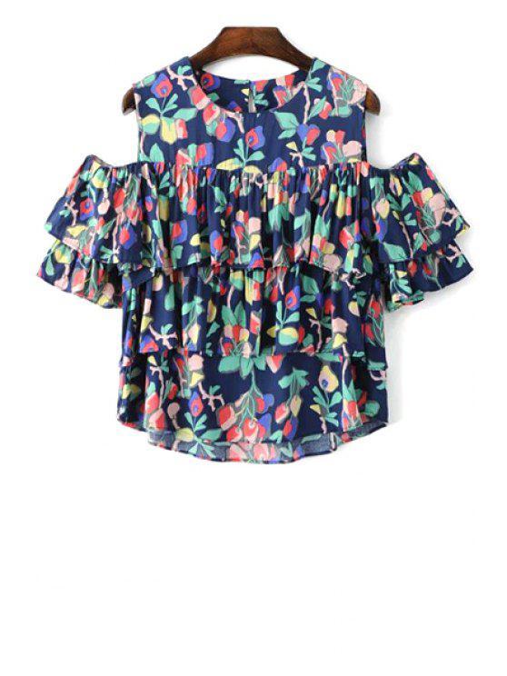 Cold Shoulder de cuello redondo de multi capa de la blusa - Colormix M