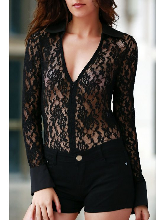 shops Sheer Floral Lace Zipped Bodysuit - BLACK 2XL