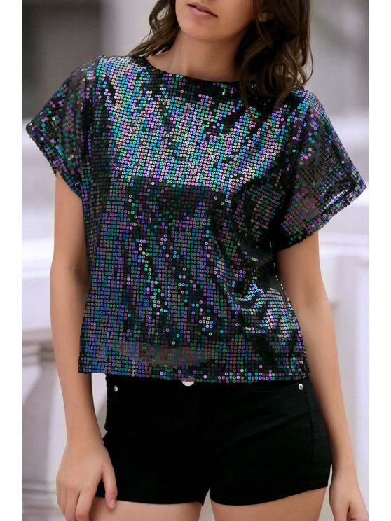 best Short Sleeve Sequined Sparkly T-Shirt - BLACK XL