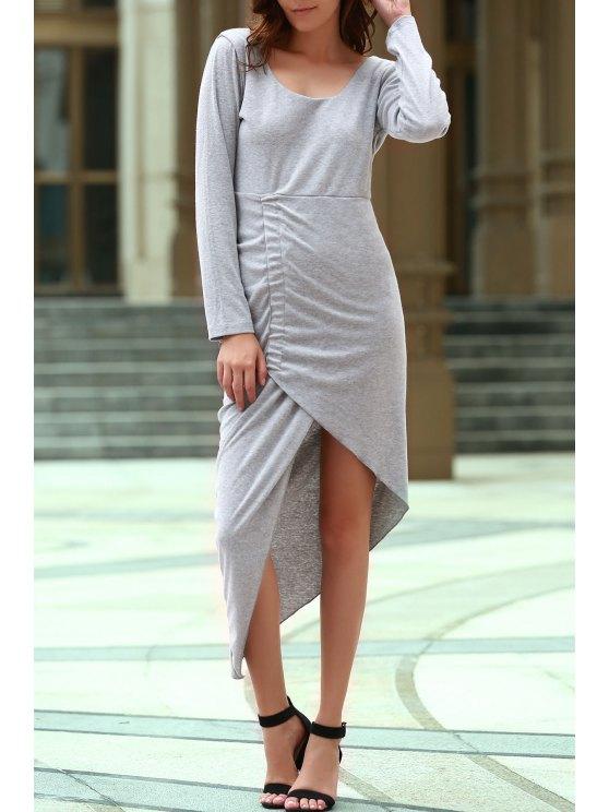 womens Backless Scoop Neck Long Sleeve Asymmetric Dress - GRAY M