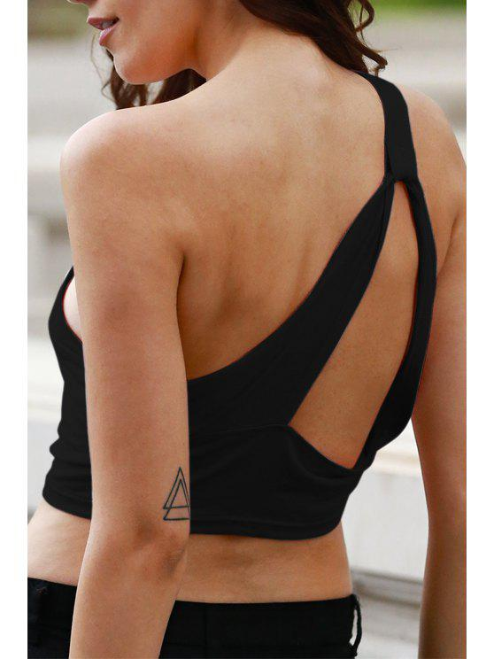affordable Wrapped Chest One Shoulder Cropped Tank Top - BLACK 3XL