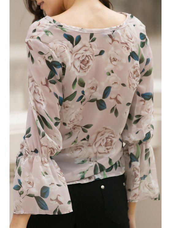 Flower Print V Neck Flare Sleeve Chiffon Blouse - Rosa L