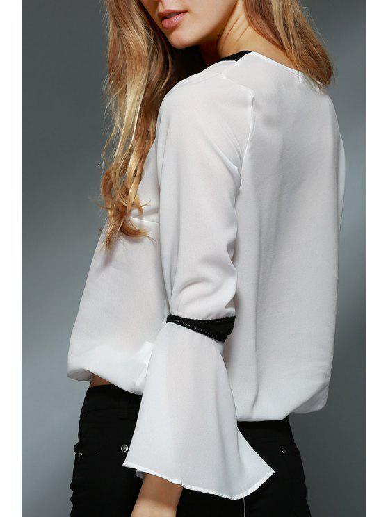 Dentelle Spliced V-Neck Blouse de Bell Sleeve - Blanc M