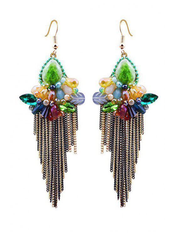 Charme Faux Fleur de cristal Tassel Boucles d'oreilles - Multicolore
