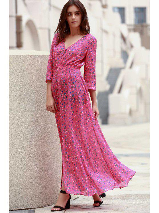 affordable Tiny Floral Single-Breasted Maxi Dress - ROSE XL