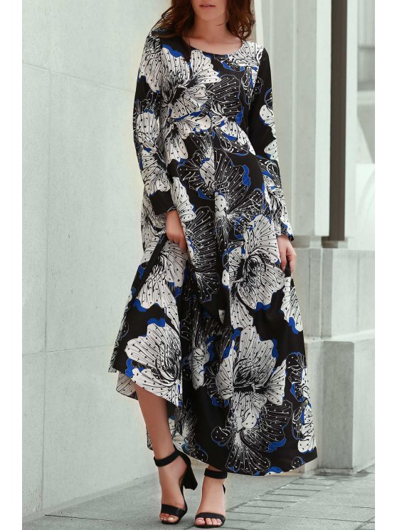 chic Long Sleeve Large Floral Prom Dress - BLACK XL