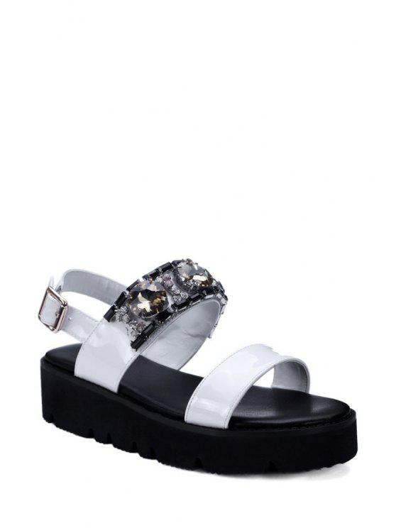 buy Rhinestone Solid Color Platform Sandals - WHITE 36