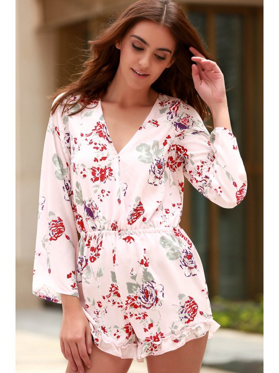 Cross-Over Collar manches longues Floral Playsuit - ROSE PÂLE 2XL