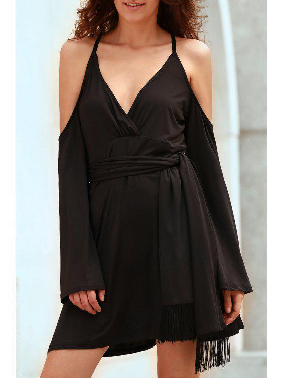 9b0948d95917f1 26% OFF] 2019 Solid Color Plunging Neck Cold Shoulder Dress In BLACK ...