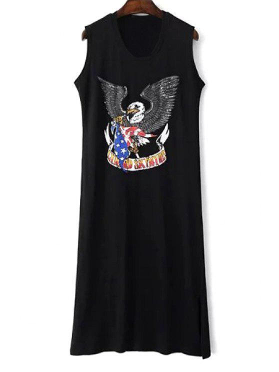 sale Eagle Print Round Collar Sleeveless Side Slit Dress - BLACK M