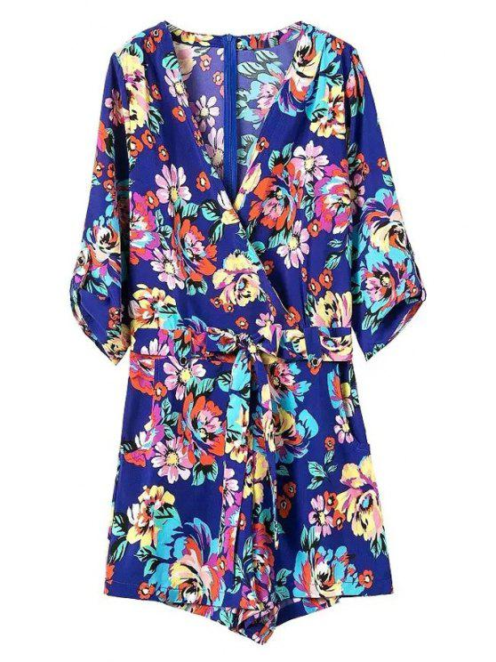 sale Casual Flower Print V Neck 3/4 Sleeve Playsuit - BLUE M