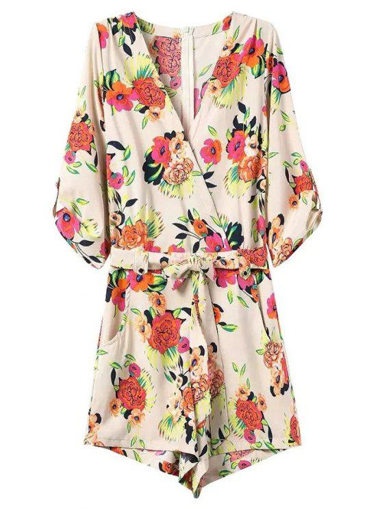 fashion Casual Flower Print V Neck 3/4 Sleeve Playsuit - OFF-WHITE S