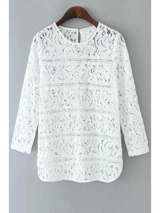 69c8e6c5894086 25% OFF] 2019 3/4 Sleeve Openwork Lace Top In WHITE | ZAFUL