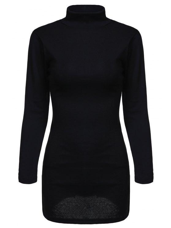 fashion Black Side Slit Turtle Neck Long Sleeves T-Shirt - BLACK S