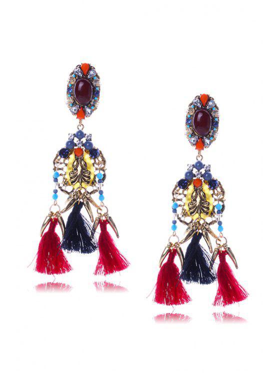 Rétro Colorful Faux oreilles en cristal Tassel - Multicolore
