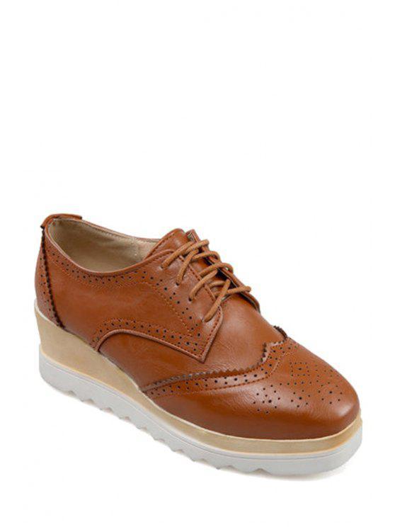 Grabado con cordones de zapatos de plataforma del dedo del pie cuadrado de - Marrón 38