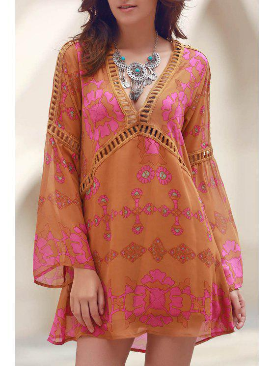 trendy Printed V-Neck Long Sleeve Lacework Splicing Dress - EARTHY S