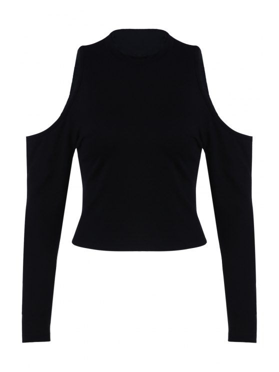 نقية اللون جولة طوق بارد الكتف تي شيرت - أسود L