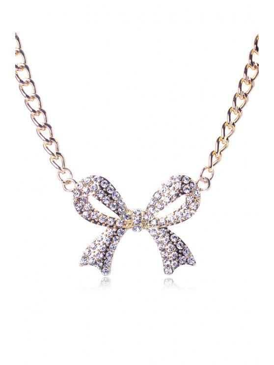 ladies Rhinestoned Bowknot Pendant Sweater Chain - GOLDEN