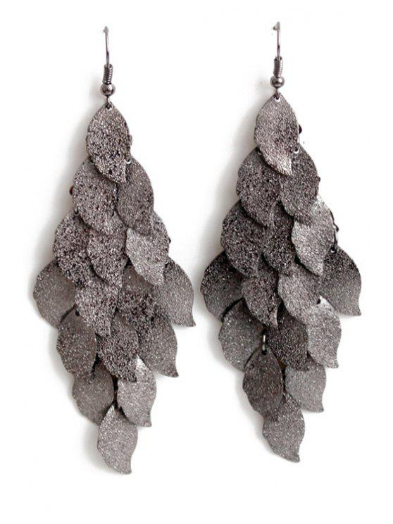 fancy Exquisite Multi-Layered Leaf Shape Earrings - BLACK