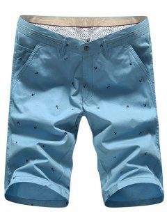 Fashion Straight Leg Anchor Embroidered Slimming Zipper Fly Shorts For Men - Blue 33