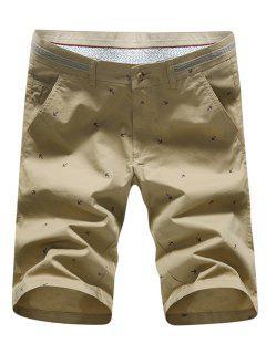 Fashion Straight Leg Anchor Embroidered Slimming Zipper Fly Shorts For Men - Khaki 32