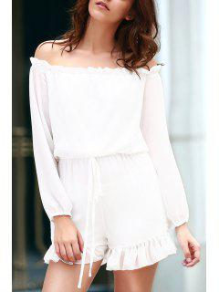 Solid Color Off The Shoulder Long Sleeve Romper - White L