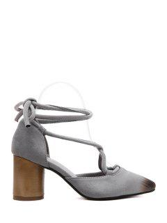 Cross-Strap Flock Chunky Heel Pumps - Gray 39