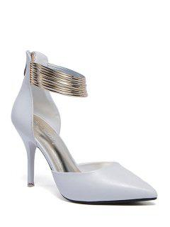 Metallic Zip Two-Piece Pumps - White 39