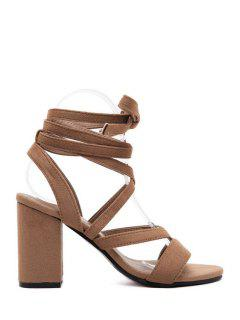 Cross-Strap Flock Chunky Heel Sandals - Brown 39