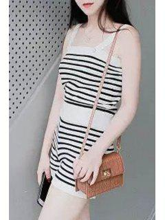 Square Neck Striped Knit Romper - White And Black