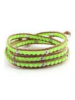 Bead Multi-Layered Wrap Bracelet - Green