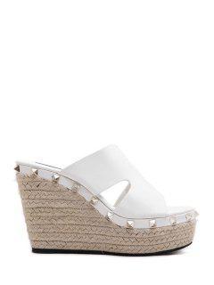 Weaving Rivet Wedge Heel Slippers - White 38