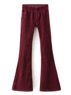 Pleuche Stretchy Low Waist Wide Leg Pant - Wine Red L