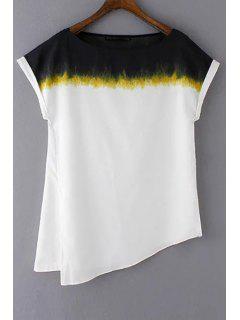 Side Lâche Slit Col Rond T-shirt à Manches Courtes - Blanc M