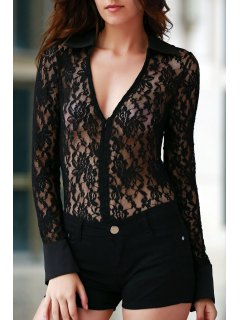 Sheer Floral Lace Zipped Bodysuit - Black 2xl