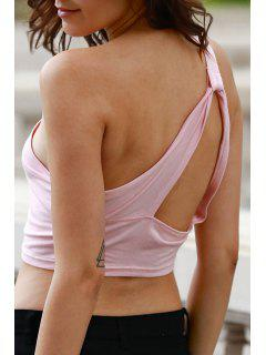 Wrapped Chest One Shoulder Cropped Tank Top - Pink L
