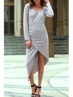 Backless Scoop Neck Long Sleeve Asymmetric Dress - Gray M