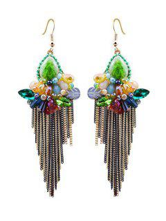 Faux Crystal Flower Fringed Earrings