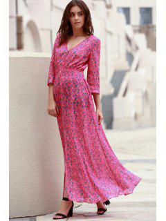 Tiny Floral Single-Breasted Maxi Dress - Rose L