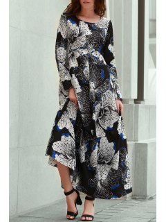 Long Sleeve Large Floral Prom Dress - Black L
