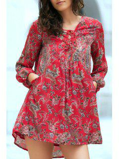 Ethnic Style Print V Neck Long Sleeve Dress - Red L