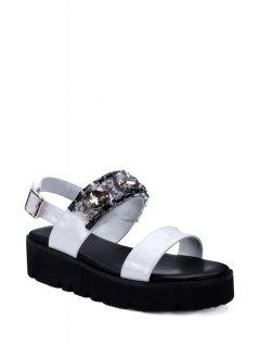 Rhinestone Solid Color Platform Sandals - White 36