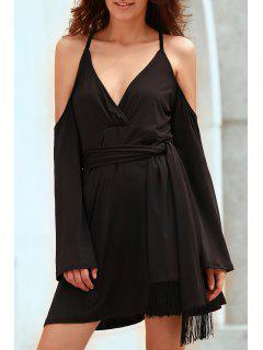Solide Couleur Plongeant Cou Froide Robe - Noir 2xl