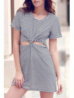 Striped Round Collar Short Sleeve Knotted Cut Out Dress - White And Black L