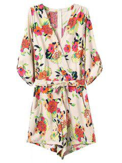 Casual Flower Print V Neck 3/4 Sleeve Playsuit - Off-white S