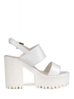 Solid Color Platform Chunky Heel Sandals - White 39