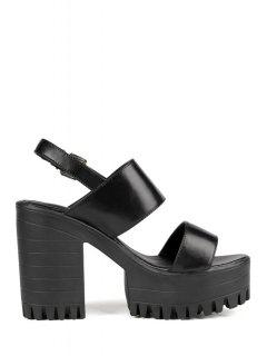 Solid Color Platform Chunky Heel Sandals - Black 39
