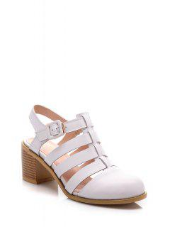 Closed Toe Buckle Sandales à Talons Chunky - Blanc 38